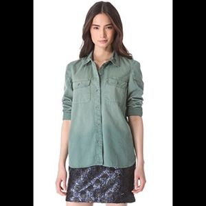 Madewell Green Button Down Tomboy Work Shirt